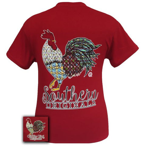 Girlie Girl Southern Originals Rooster Cherry Red Bright T Shirt
