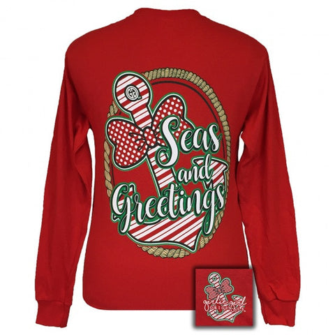 Girlie Girl Seas and Greetings Holiday Anchor Bow Long Sleeves T-Shirt