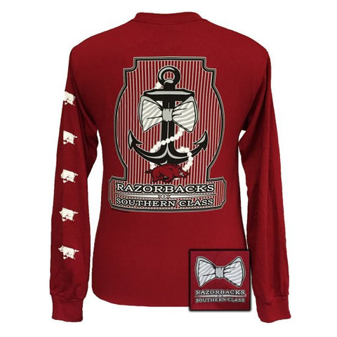 Arkansas Razorbacks Southern Class Anchor Pearls Bow Long Sleeves T Shirt - SimplyCuteTees