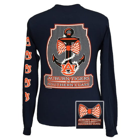 Auburn Tigers War Eagle Classy Anchor Pearls Bow Long Sleeve T Shirt - SimplyCuteTees