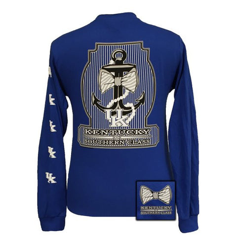 UK Kentucky Wildcats Big Blue Classy Anchor Pearls Bow Long Sleeve T Shirt - SimplyCuteTees