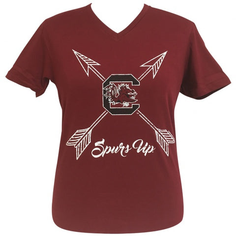 Girlie Girl Preppy South Carolina Gamecocks Spurs Up V-Neck Red T-Shirt