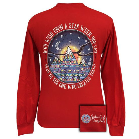 Girlie Girl Originals Stars Moutains Pray Red Long Sleeve T-Shirt