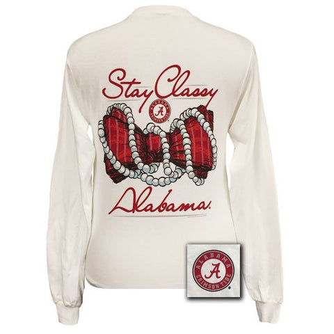 Alabama Crimson Tide Preppy Stay Classy Pearls Bow Long Sleeve T Shirt - SimplyCuteTees
