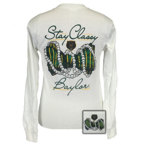 Texas Baylor Bears Stay Classy Pearls Long Sleeves T-Shirt - SimplyCuteTees