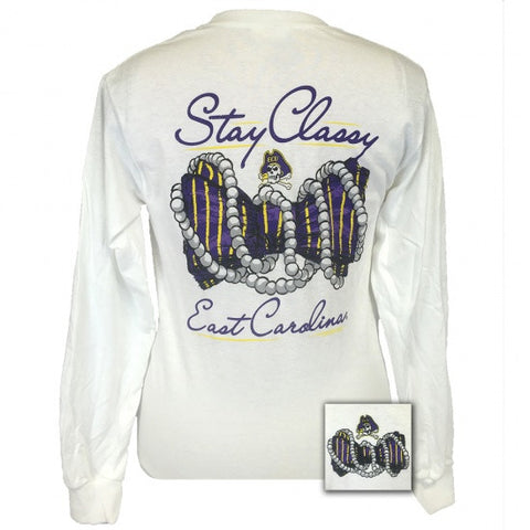 ECU East Carolina Pirates Stay Classy Pearls Long Sleeves T-Shirt