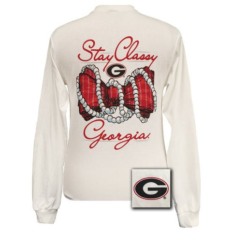 SALE Georgia Bulldogs Preppy Stay Classy Pearls Bow Long Sleeves T Shirt