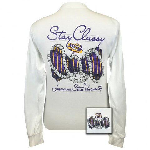 Louisiana State LSU Tigers Stay Classy Bow Long Sleeve T Shirt