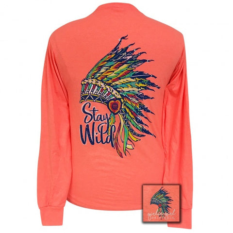 Girlie Girl Preppy Stay Wild Feathers Long Sleeve T-Shirt