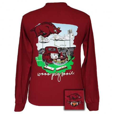 Arkansas Razorbacks Hogs Tailgates & Touchdowns Party Long Sleeve T-Shirt - SimplyCuteTees