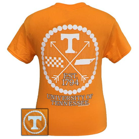Tennessee Vols Volunteer Preppy Arrow Pearls Girlie Bright T Shirt - SimplyCuteTees