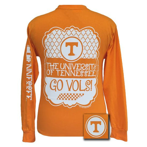 Tennessee Vols Preppy Frame Logo Bright Long Sleeves T Shirt - SimplyCuteTees