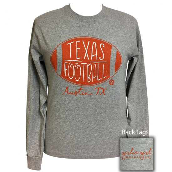 Girlie Girl Preppy Texas Football Long Sleeve T-Shirt
