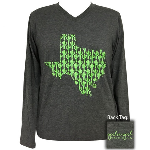 Girlie Girl Preppy Texas Cactus V-Neck Long Sleeve T-Shirt