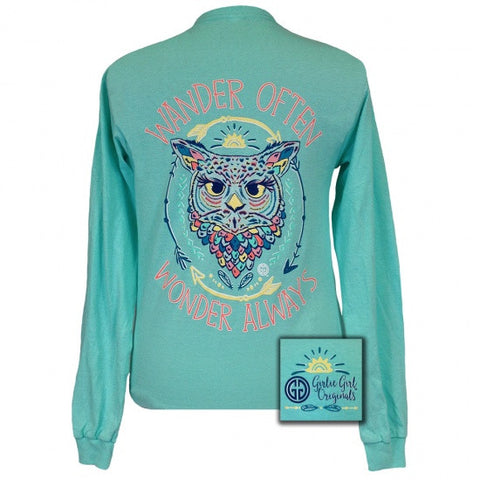 Girlie Girl Originals Wander Often Owl Long Sleeve T-Shirt