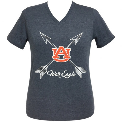 febbf7615de Girlie Girl Preppy Auburn War Eagle V-Neck T-Shirt