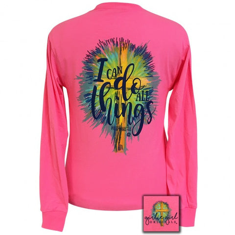 Girlie Girl Southern Originals Watercolor cross Faith Pink Long Sleeve T-Shirt