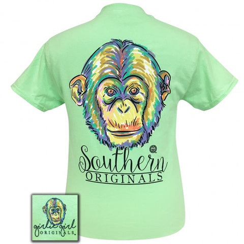 Girlie Girl Originals Preppy Watercolor Monkey T-Shirt