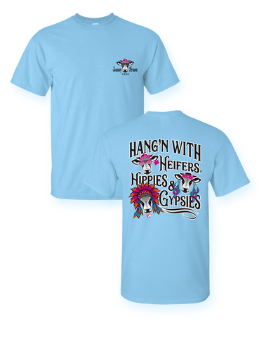 Sassy Frass Hanging with Heifers Hippies & Gypsies Cow Bright Girlie T Shirt