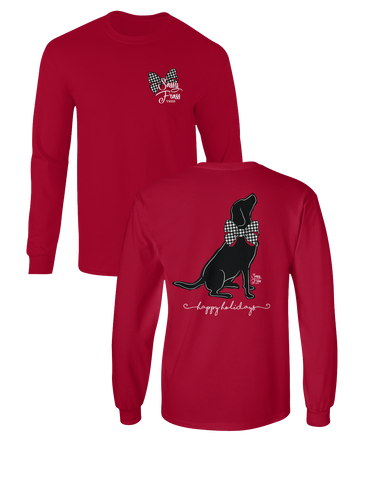 73494b2a7d09 Sassy Frass Happy Holidays Black Lab Dog Bow Christmas Long Sleeve Bright  Girlie T Shirt