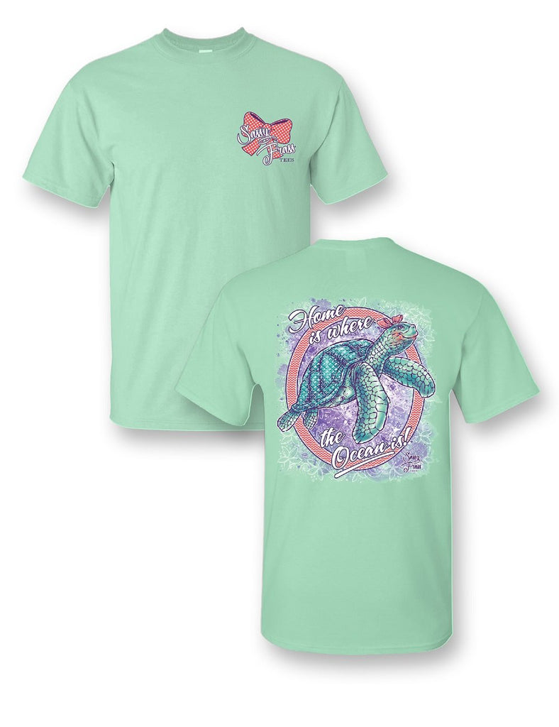 bddd14cc Sassy Frass Home is Where the Ocean Is Turtle Girlie Bright T Shirt |  SimplyCuteTees
