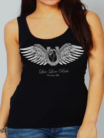 Country Life Outfitters Black Live Love Ride Horseshoe Wings Vintage Bright Fitted Tank Top Shirt - SimplyCuteTees