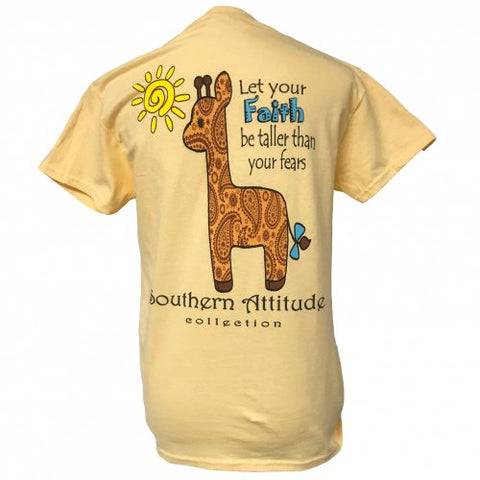 Southern Attitude Preppy Giraffe Faith Yellow T-Shirt
