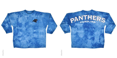 Carolina Panthers Logo Tie Dye Sweeper Long Sleeve Oversized Top Shirt Jersey - SimplyCuteTees
