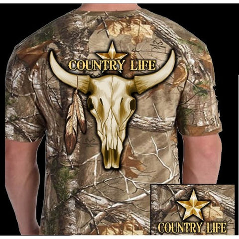 Country Life Outfitters Camo Realtree Bull Skull Unisex T Shirt - SimplyCuteTees