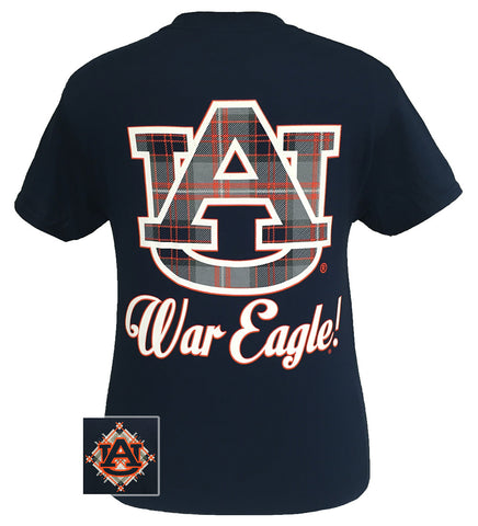 Auburn tigers war eagle plaid big logo bright t shirt for Auburn war eagle shirt