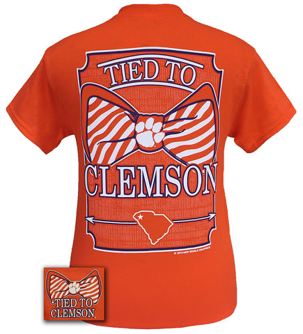 New South Carolina Clemson Tigers Tied to State Bow Girlie Bright T Shirt