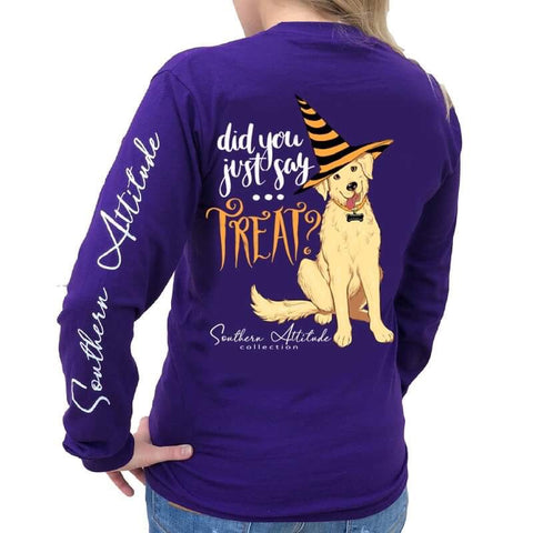 Southern Attitude Preppy Treat Dog Halloween Fall Long Sleeve T-Shirt