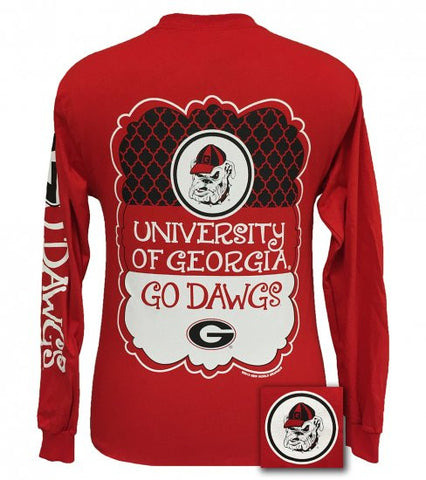 Georgia Bulldogs Southern Preppy Frame Logo Long Sleeve T Shirt