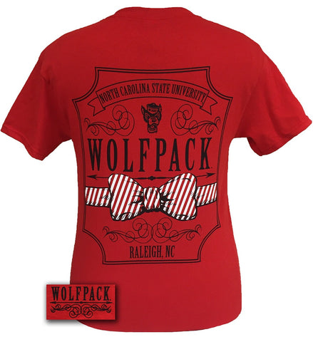 North Carolina NC State Wolf pack Script Prp Prep Bow Girlie Bright T Shirt