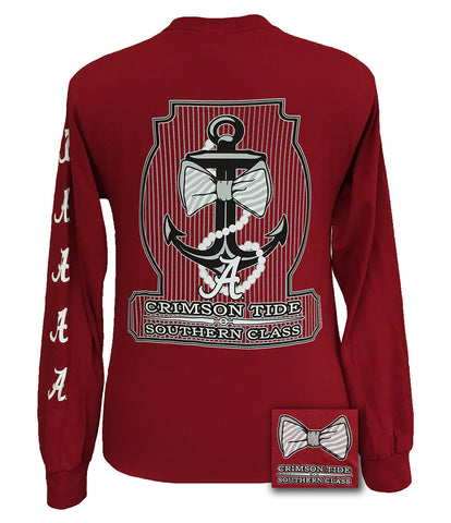 Alabama Crimson Tide Southern Class Anchor Pearls Long Sleeves T Shirt - SimplyCuteTees