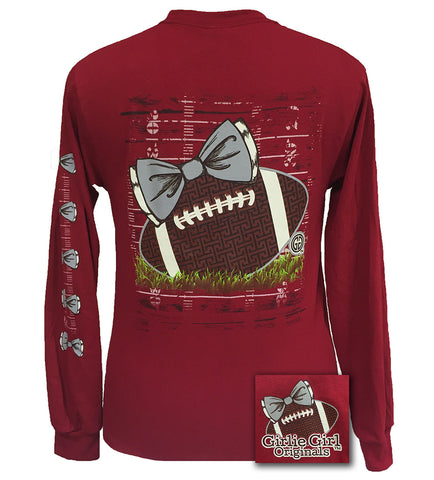 SALE Girlie Girl Originals Preppy Football Team Big Bow Long Sleeve Cardinal T Shirt