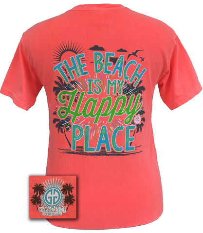 Girlie Girl Originals Beach Is My Happy Place Summer Comfort Colors T-Shirt