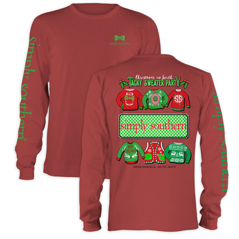 SALE Simply Southern Christmas Tacky Sweater Party Holiday Long Sleeve T-Shirt