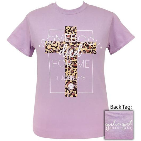 Girlie Girl Originals Preppy Somebody Died For Me Leopard Cross T-Shirt