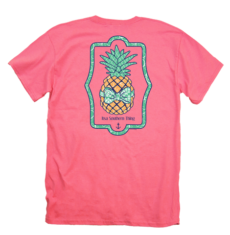 Itsa girl Thing Preppy Pineapple Bow Coral Silk Bright Girlie T-Shirt
