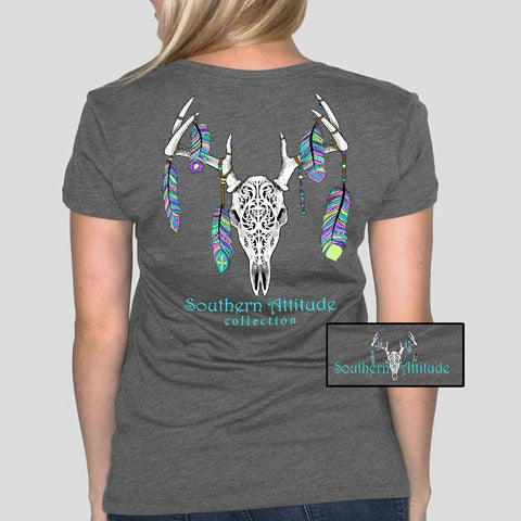 Southern Attitude Preppy Feather Deer Skull Gray T-Shirt