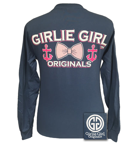 Girlie Girl Originals Collection Anchor Bow indigo Long Sleeves T Shirt - SimplyCuteTees