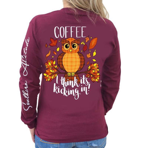 Southern Attitude Preppy Coffee Owl Fall Long Sleeve T-Shirt