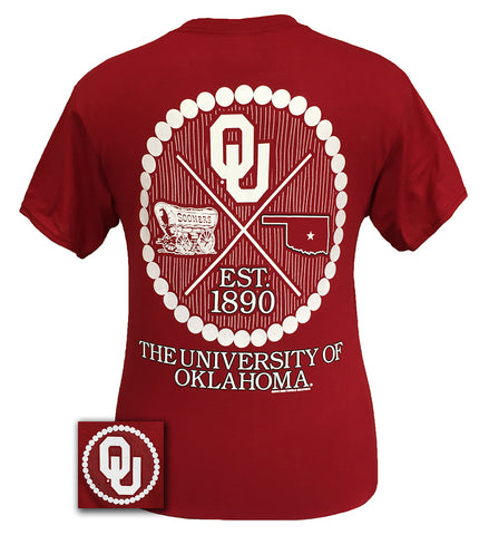 Oklahoma Boomer Sooners Prep Arrow Pearls Girlie Bright T Shirt