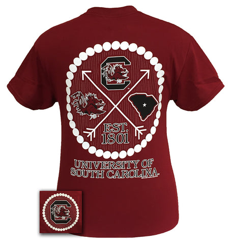 South Carolina Gamecocks Prep Arrow Pearls Girlie Bright T Shirt - SimplyCuteTees