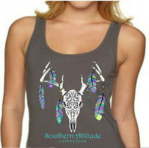 Southern Attitude Preppy Feather Deer Skull Fitted Tank Top