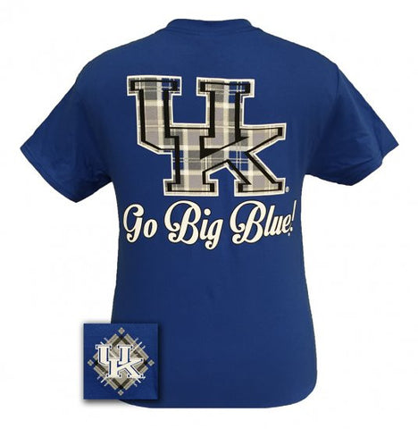 UK Kentucky Wildcats Big Blue Preppy Plaid Logo Girlie Bright T Shirt