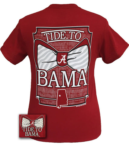 Alabama Crimson Tide Tied To Bama Big Bow Girlie Bright T Shirt - SimplyCuteTees