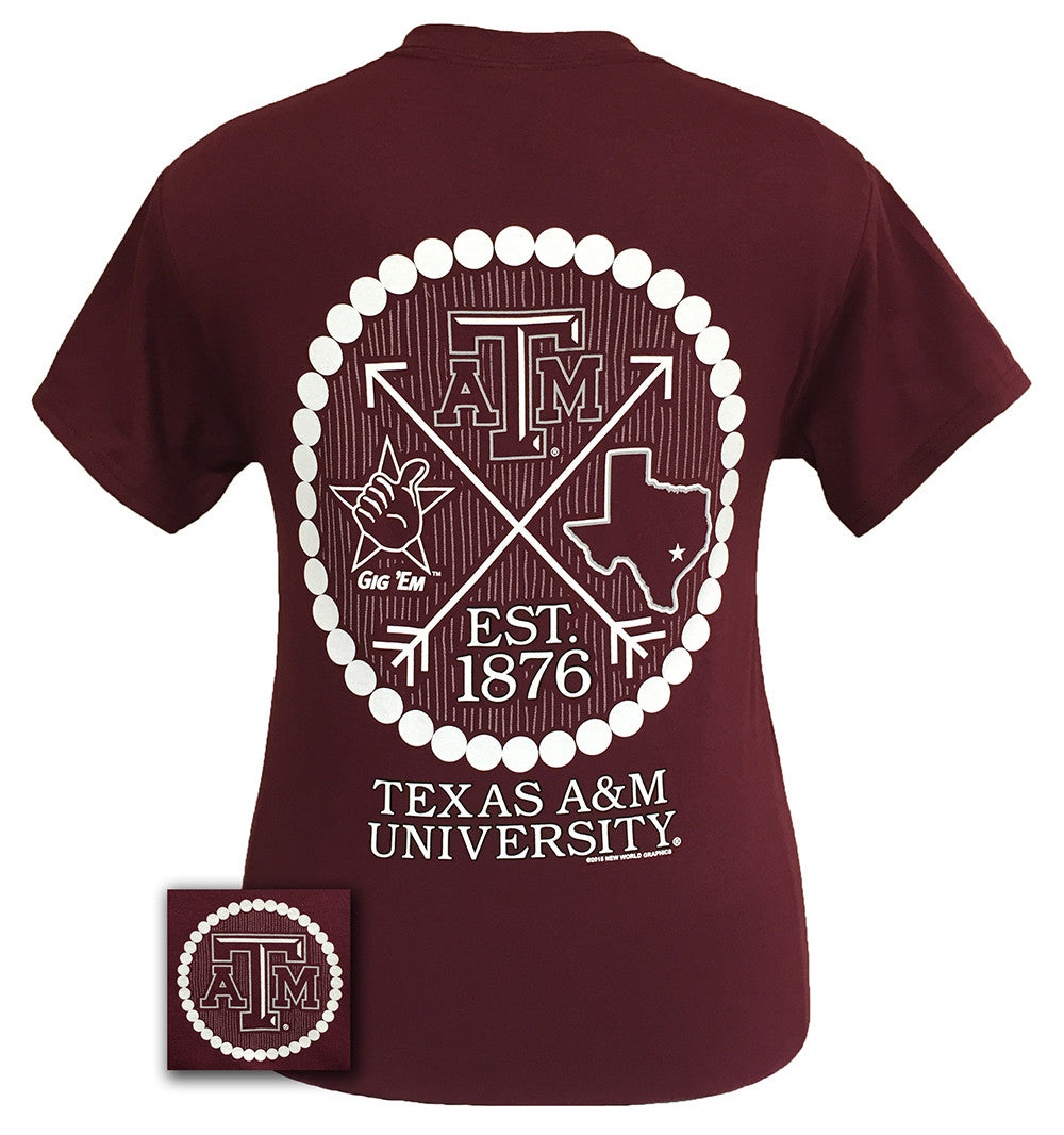 Texas A&M Aggies Arrow Pearls Logo Girlie Bright T Shirt - SimplyCuteTees
