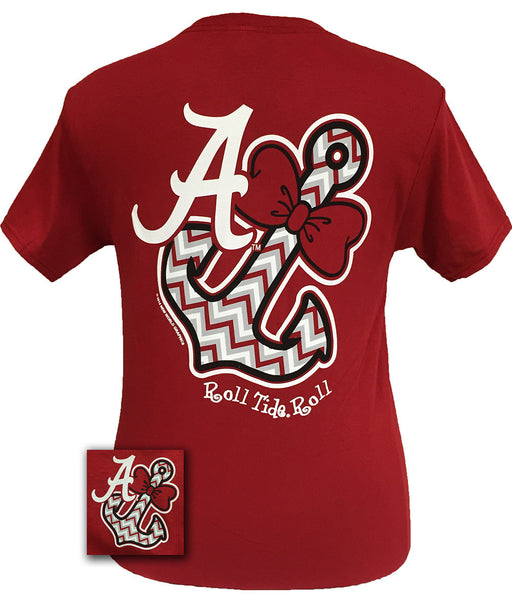 New alabama crimson tide chevron anchor bow bright t shirt for Alabama roll tide t shirts